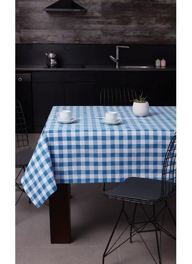 Eponj Home Masa Örtüsü 160x160Cm Kareli Mavi Mavi